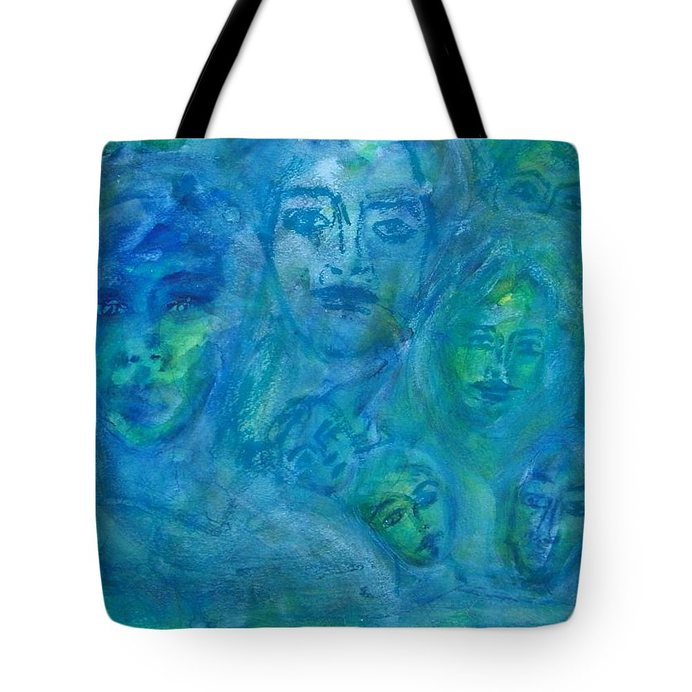 Abstract Tote Bag featuring the painting Extended Estranged Family by Judith Redman