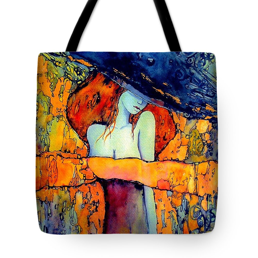 Red Tote Bag featuring the painting Extravagance by Suzann Sines