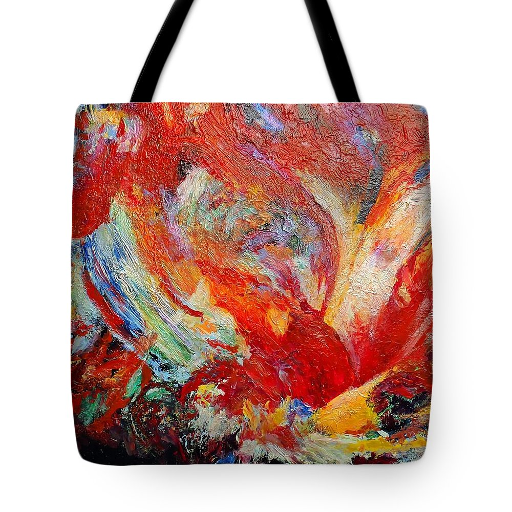 Abstract Tote Bag featuring the painting Exuberance by Michael Durst