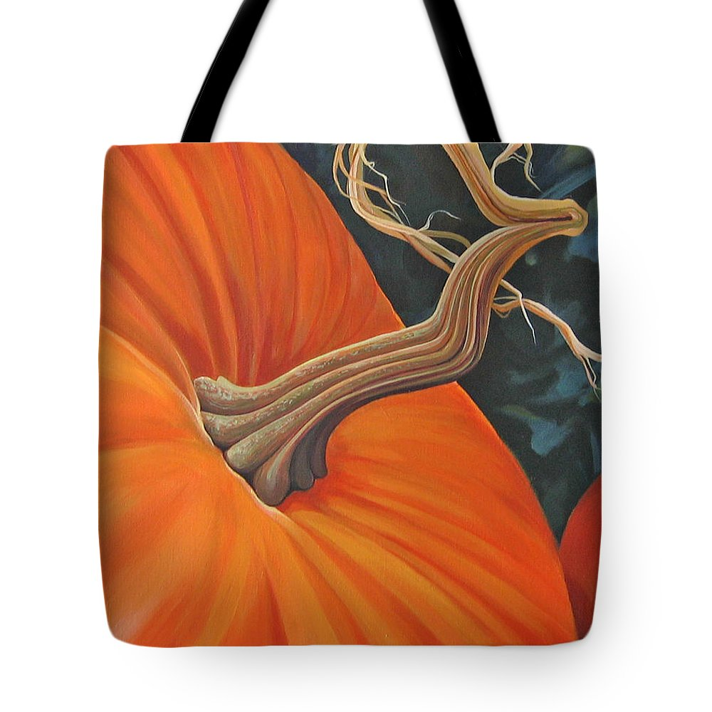 Closeup Of Pumpkin Tote Bag featuring the painting Exuberant Pumpkin by Hunter Jay