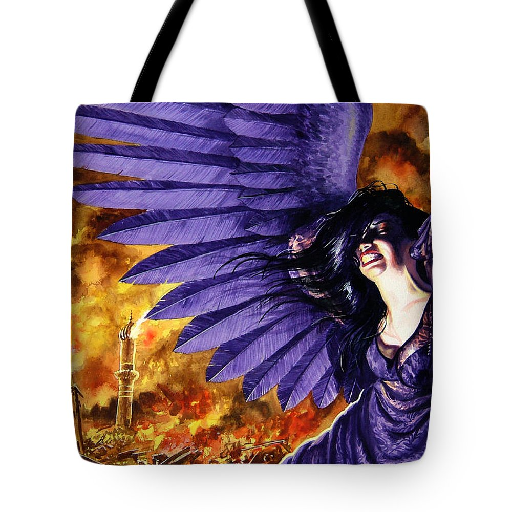 Political Commentary Tote Bag featuring the painting Eye For An Eye by Ken Meyer