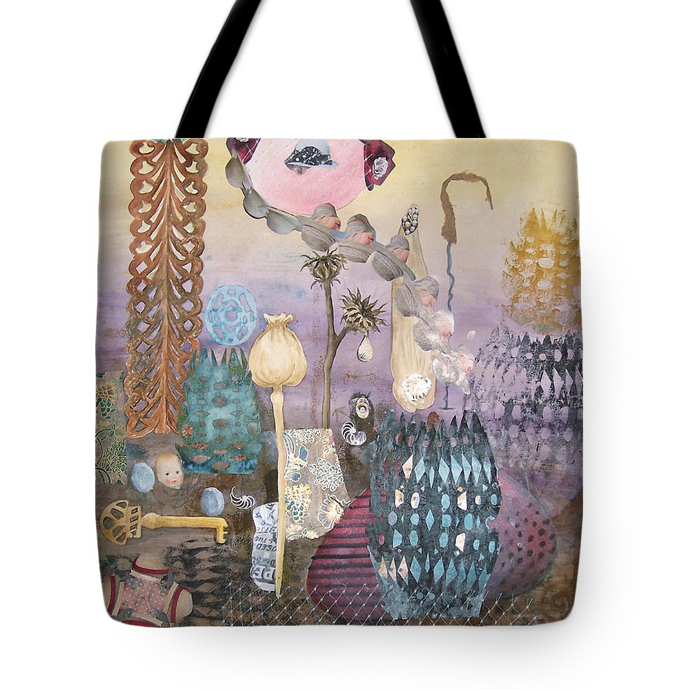Abstract Tote Bag featuring the painting Eye Has It by Valerie Meotti