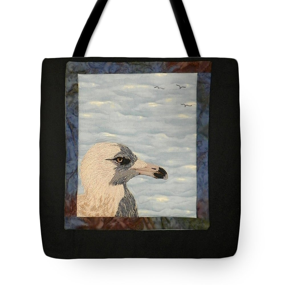 Birds Tote Bag featuring the tapestry - textile Eye Of The Gull by Jenny Williams