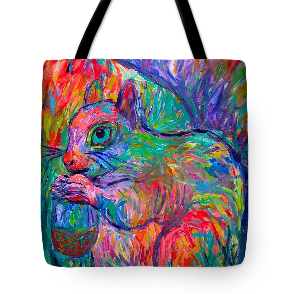 Squirrel Tote Bag featuring the painting Eye Of The Squirrel by Kendall Kessler