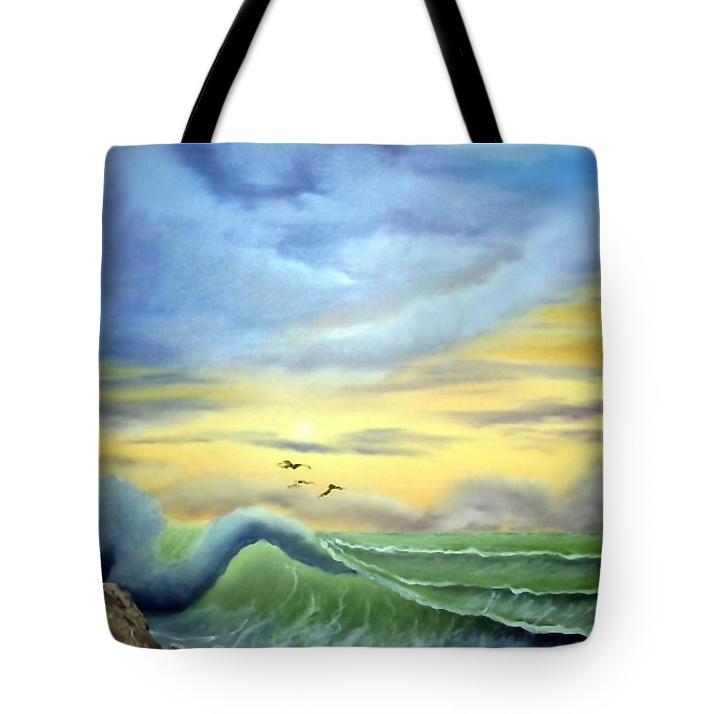 Seascape Tote Bag featuring the painting Eye Of The Storm by Ervin Sloan
