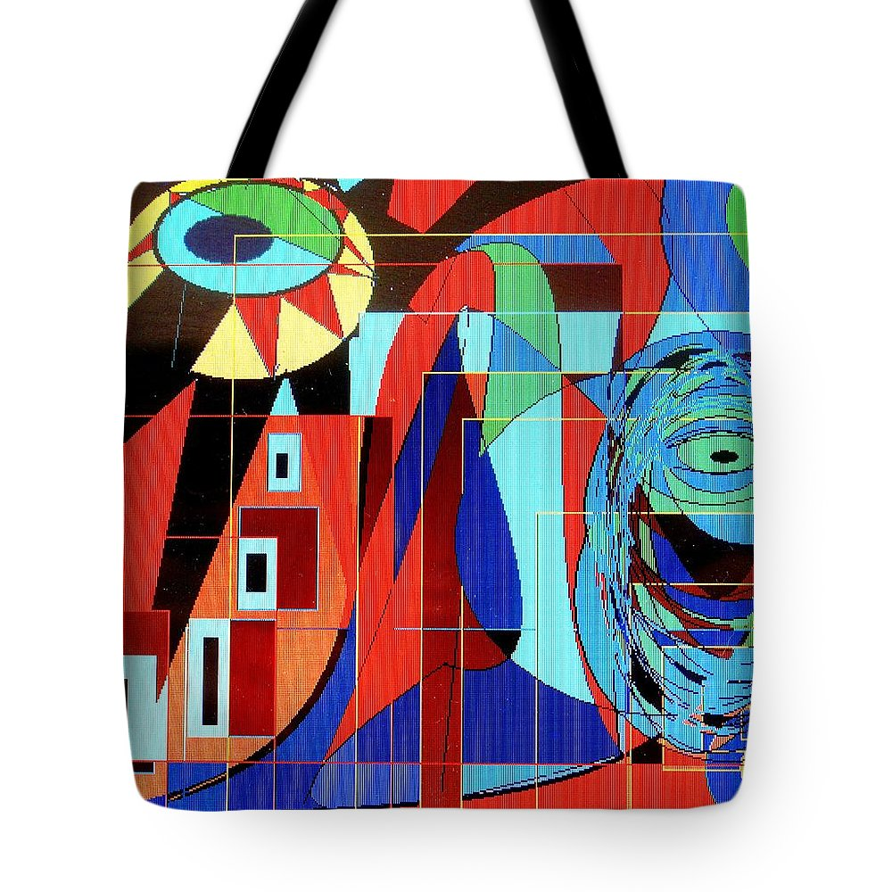 Eye Tote Bag featuring the digital art Eye Of The Tiger by Ian MacDonald