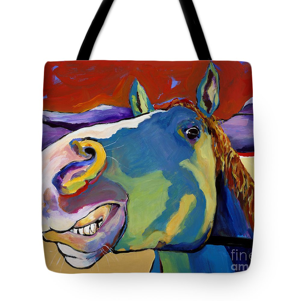 Animal Painting Tote Bag featuring the painting Eye To Eye by Pat Saunders-White