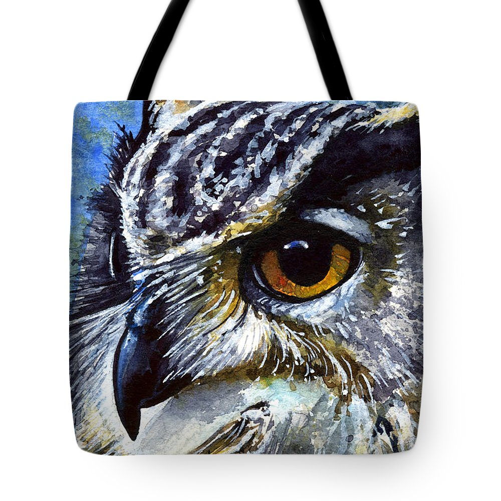 Owls Tote Bag featuring the painting Eyes Of Owls No.25 by John D Benson