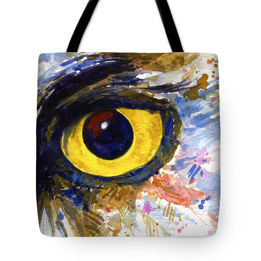 Owls Tote Bag featuring the painting Eyes Of Owl's No.6 by John D Benson