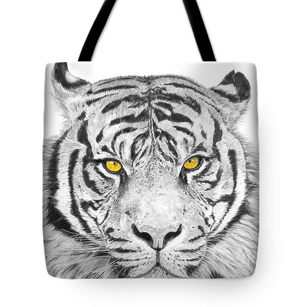 Tiger Tote Bag featuring the drawing Eyes Of The Tiger by Shawn Stallings