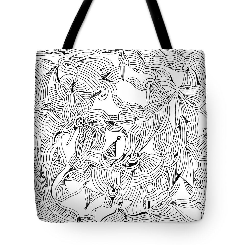Mazes Tote Bag featuring the drawing Eyes by Steven Natanson