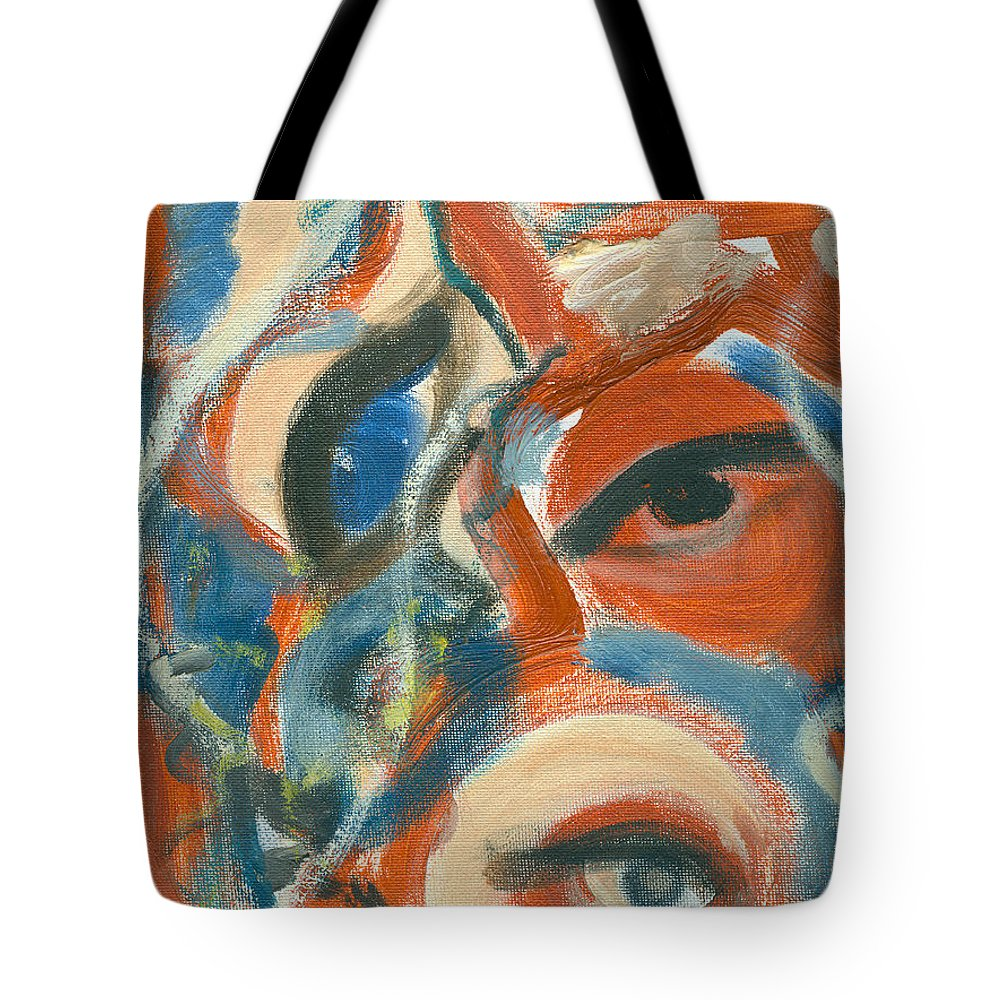 Abstract Eyes Tote Bag featuring the painting Eyescapation by Jorge Delara