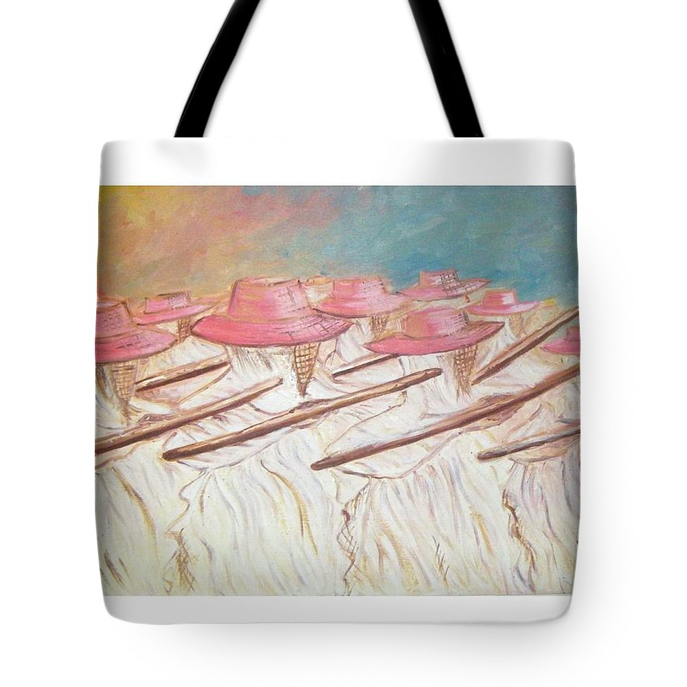 Abstract Tote Bag featuring the painting Eyo Festival by Olaoluwa Smith