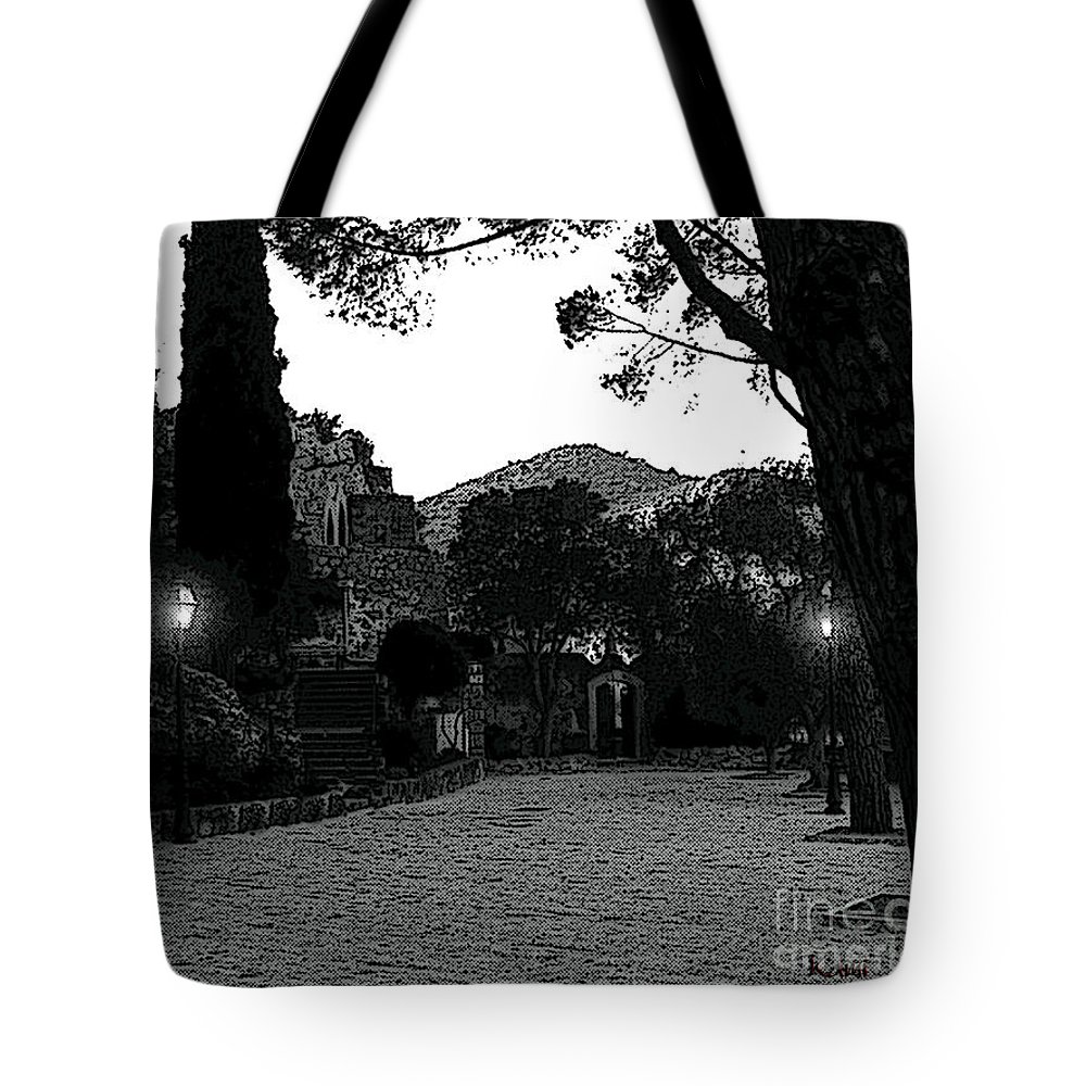 Black & White Tote Bag featuring the photograph Eze Park by Kami Catherman