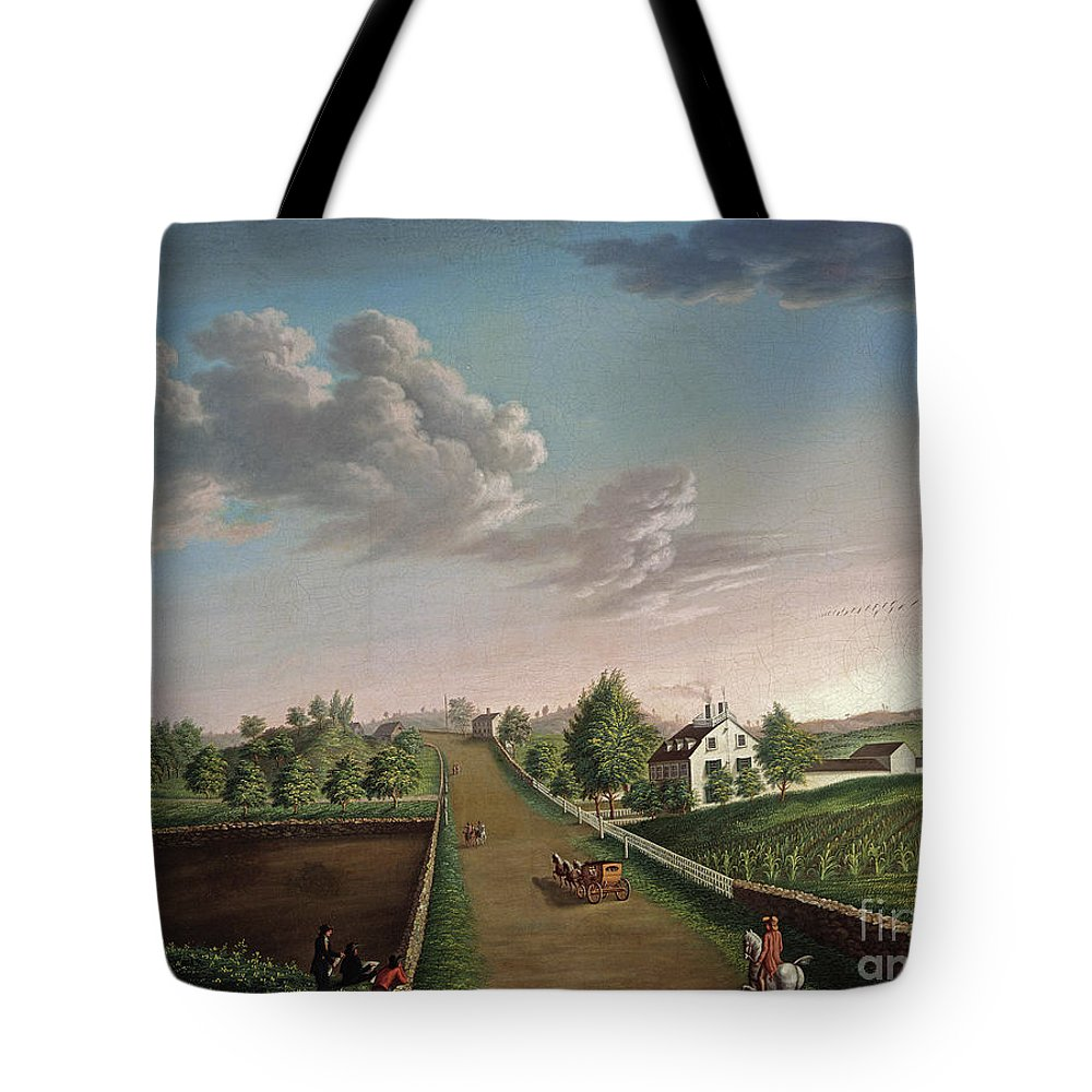 Landscape Tote Bag featuring the painting Ezekiel Hersey Derby Farm by Michele Felice Corne