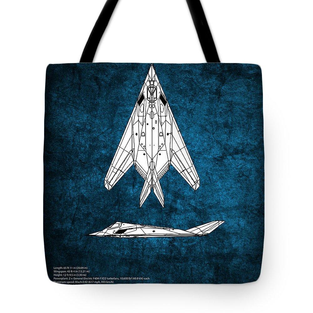 F-117a Tote Bag featuring the digital art F-117 Nighthawk by J Biggadike