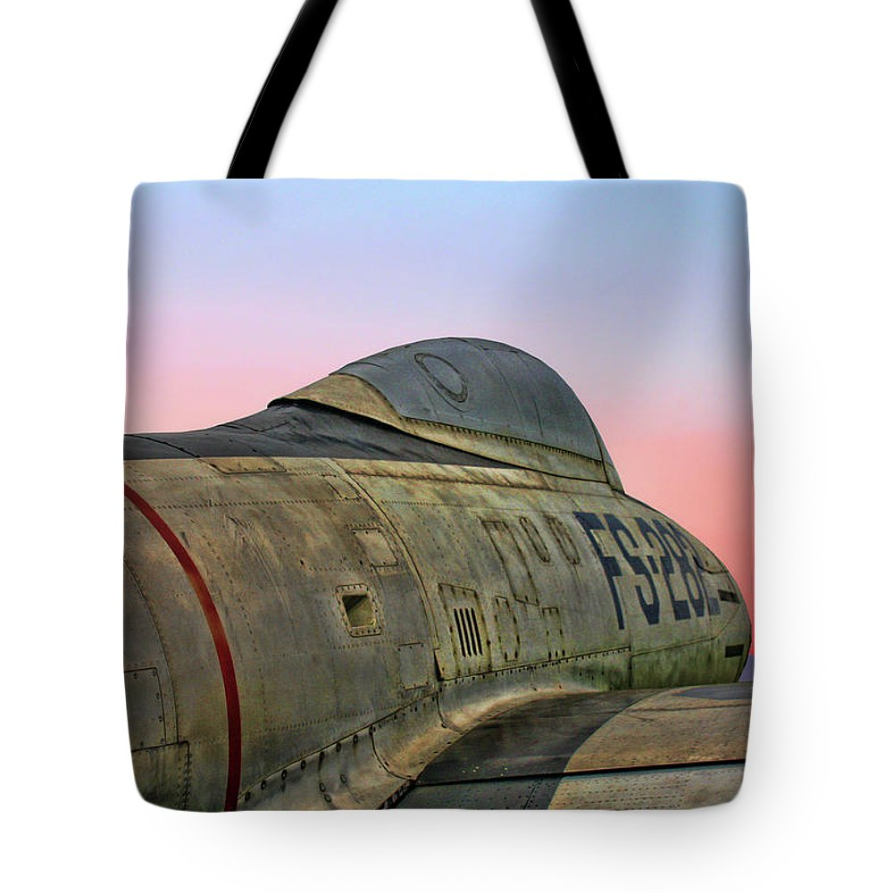 Republic F-84g Thunderjet Tote Bag featuring the photograph F-84g Thunderjet by Tommy Anderson