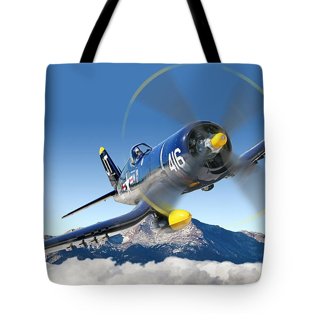 F4-u Corsair Tote Bag featuring the photograph F4-u Corsair by Larry McManus