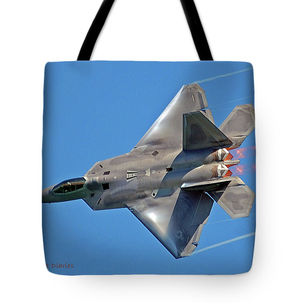 Jet Tote Bag featuring the digital art Fa 22 Raptor From Air Show by DigiArt Diaries by Vicky B Fuller