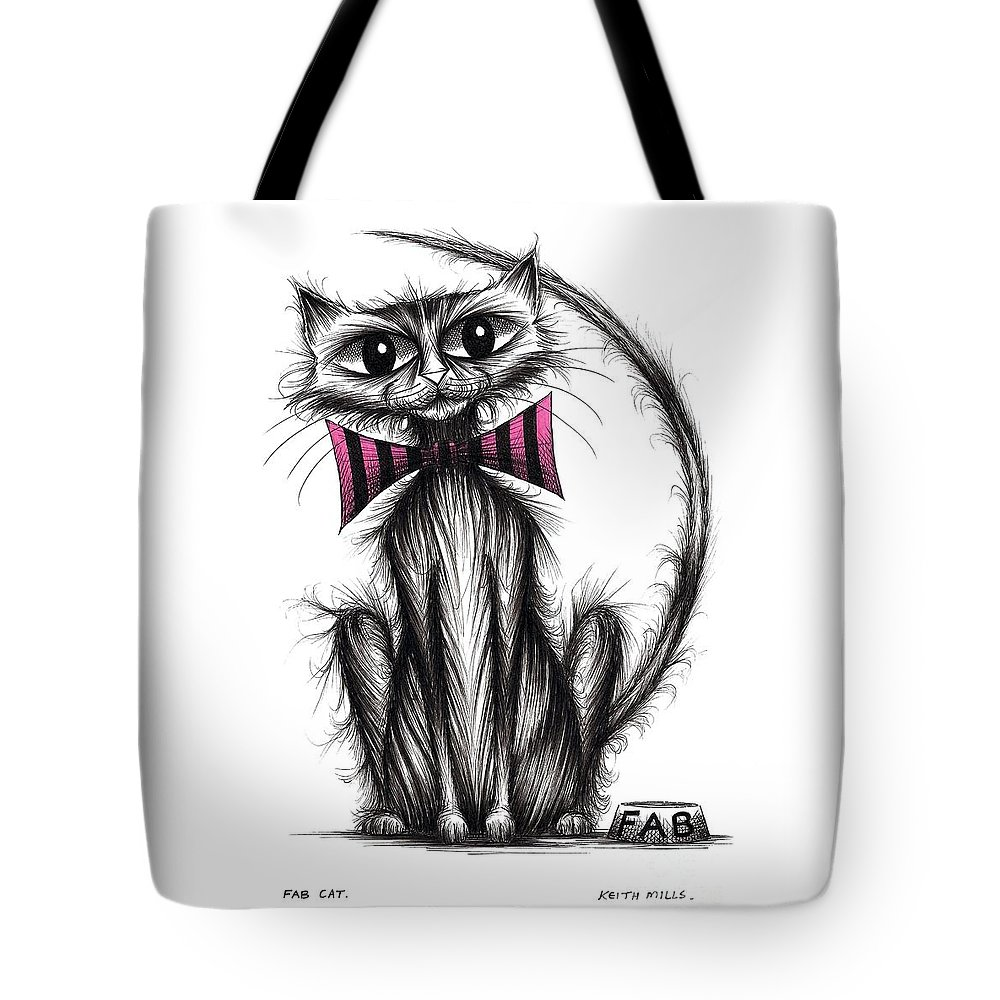 Fab Cat Tote Bag featuring the drawing Fab Cat by Keith Mills