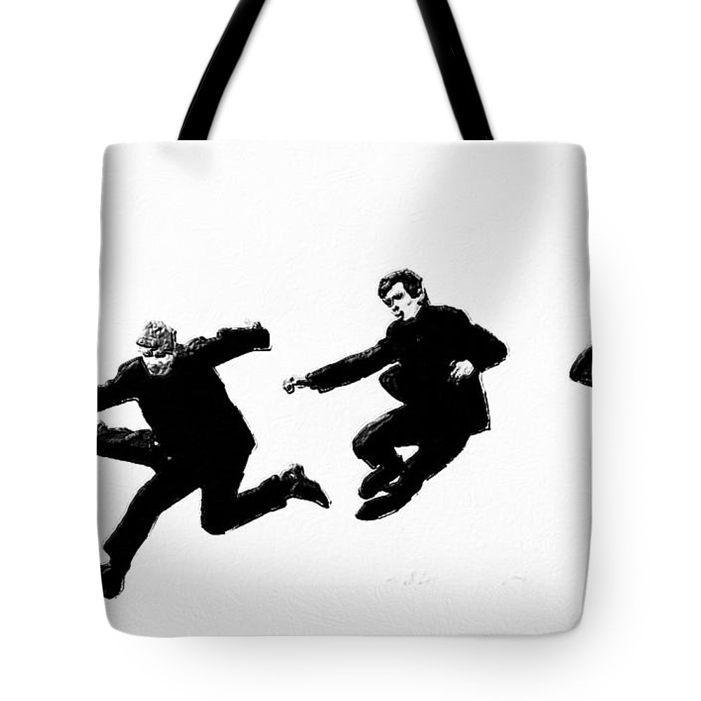 The Beatles Tote Bag featuring the painting Fab by Tony Rubino
