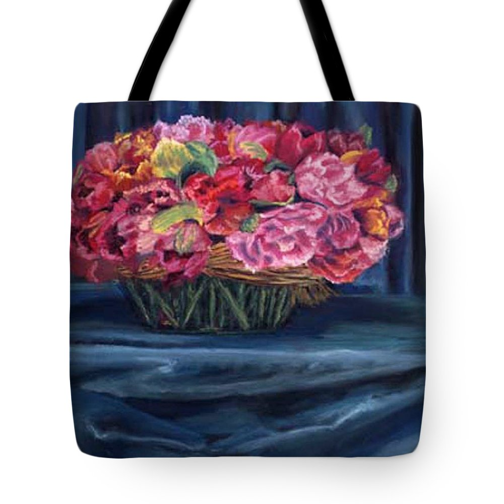 Flowers Tote Bag featuring the painting Fabric And Flowers by Sharon E Allen