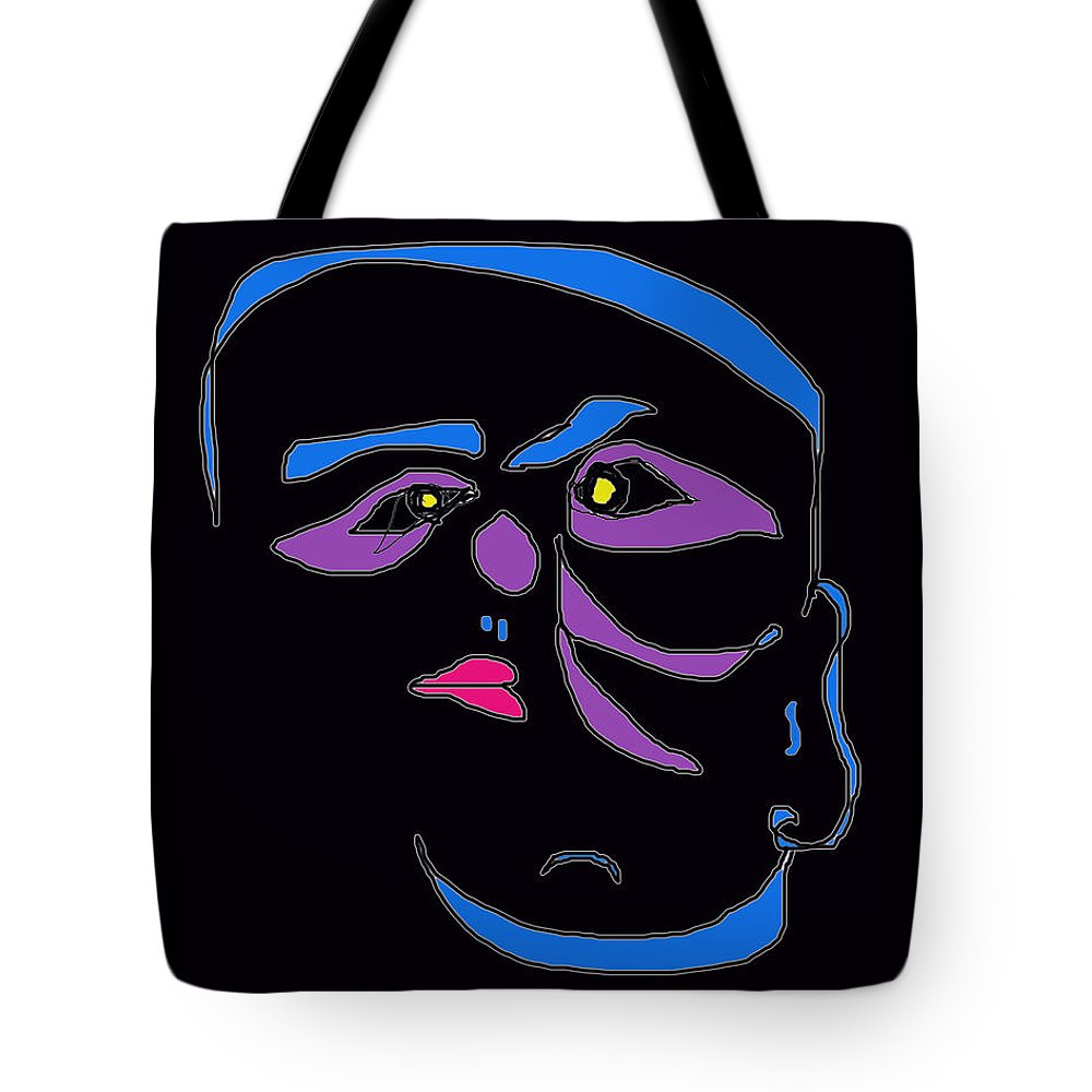 Collage Tote Bag featuring the digital art Face 1 On Black by John Vincent Palozzi