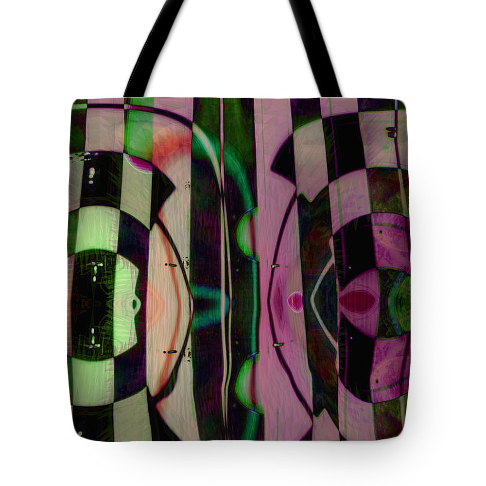 Face To Face Tote Bag featuring the digital art Face 2 Face by Linda Sannuti
