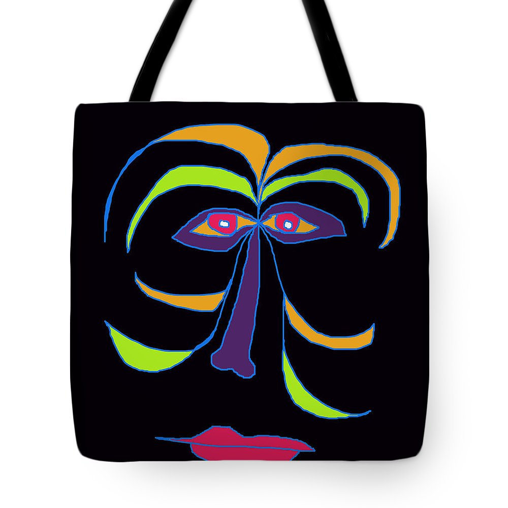 Collage Tote Bag featuring the digital art Face 2 On Black by John Vincent Palozzi