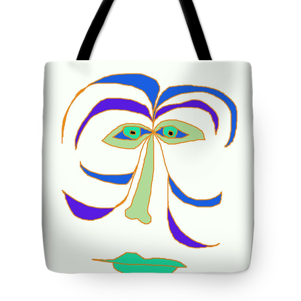 Collage Tote Bag featuring the digital art Face 2 On White by John Vincent Palozzi