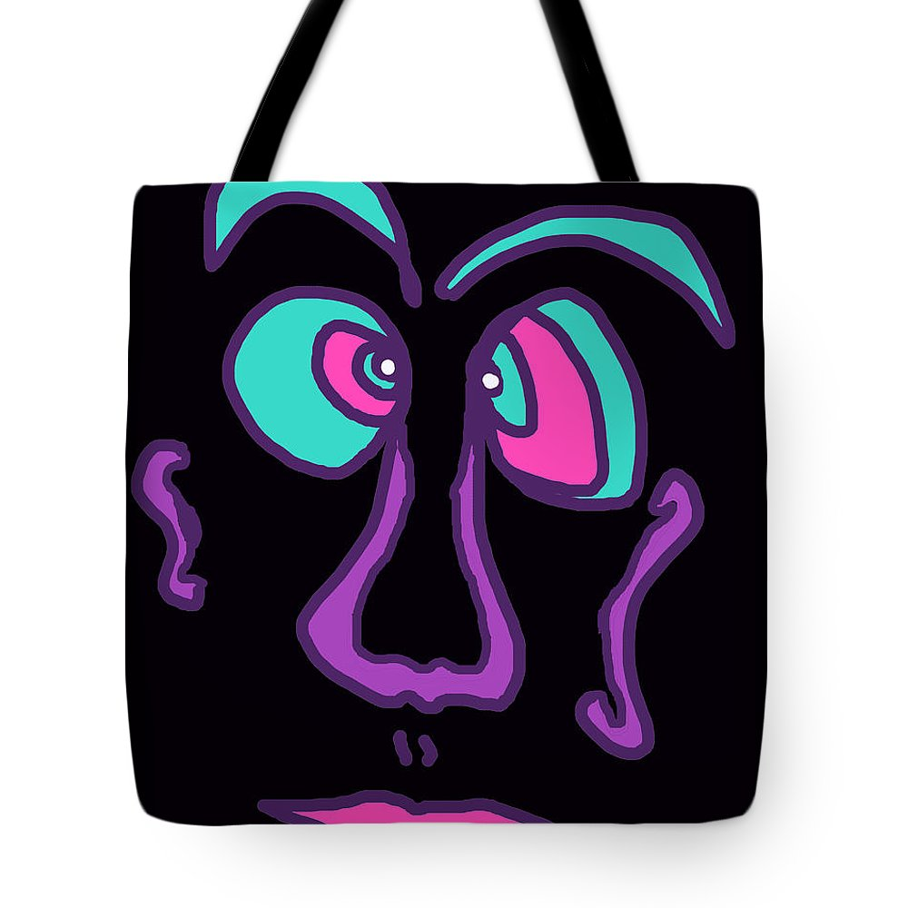 Collage Tote Bag featuring the digital art Face 3 On Black by John Vincent Palozzi