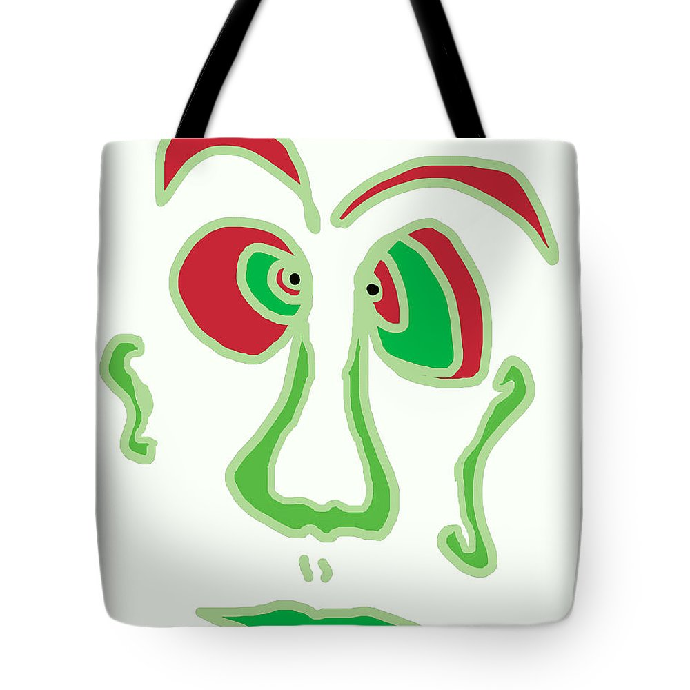 Collage Tote Bag featuring the digital art Face 3 On White by John Vincent Palozzi