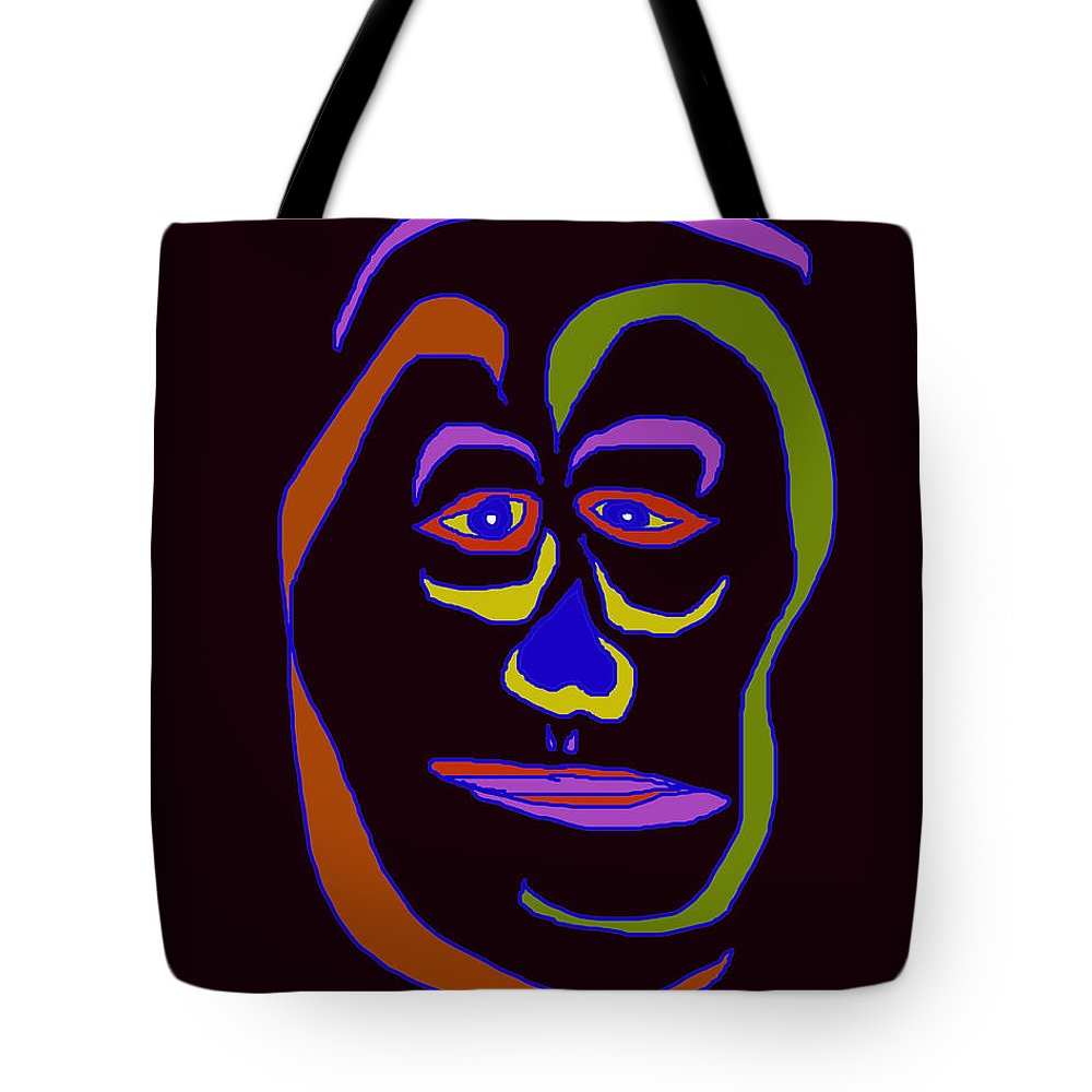 Collage Tote Bag featuring the digital art Face 5 On Black by John Vincent Palozzi