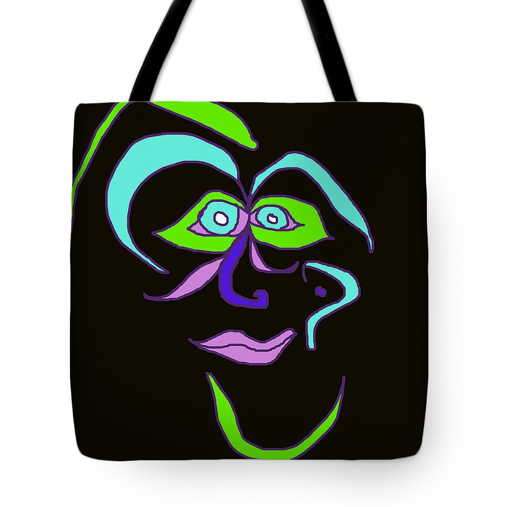 Collage Tote Bag featuring the digital art Face 6 On Black by John Vincent Palozzi