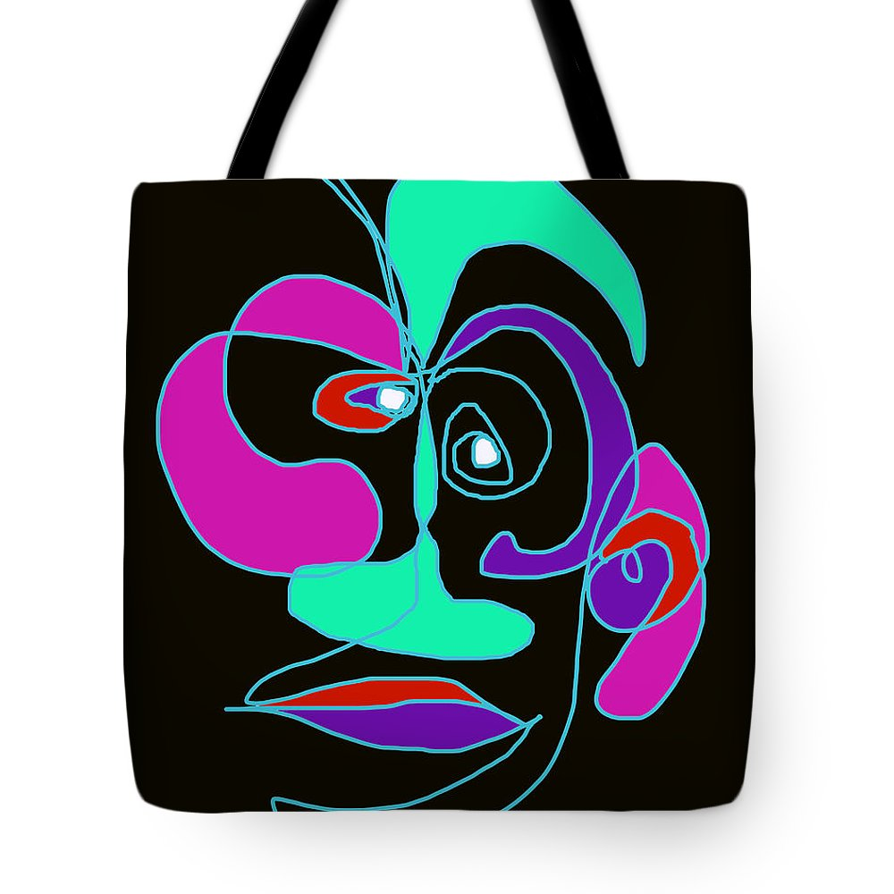 Collage Tote Bag featuring the digital art Face 7 On Black by John Vincent Palozzi