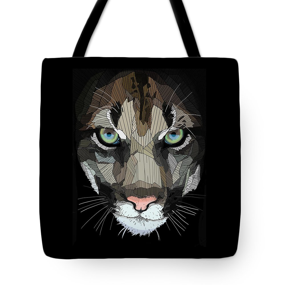 Puma Tote Bag featuring the digital art Face De Puma by Erman Akyol