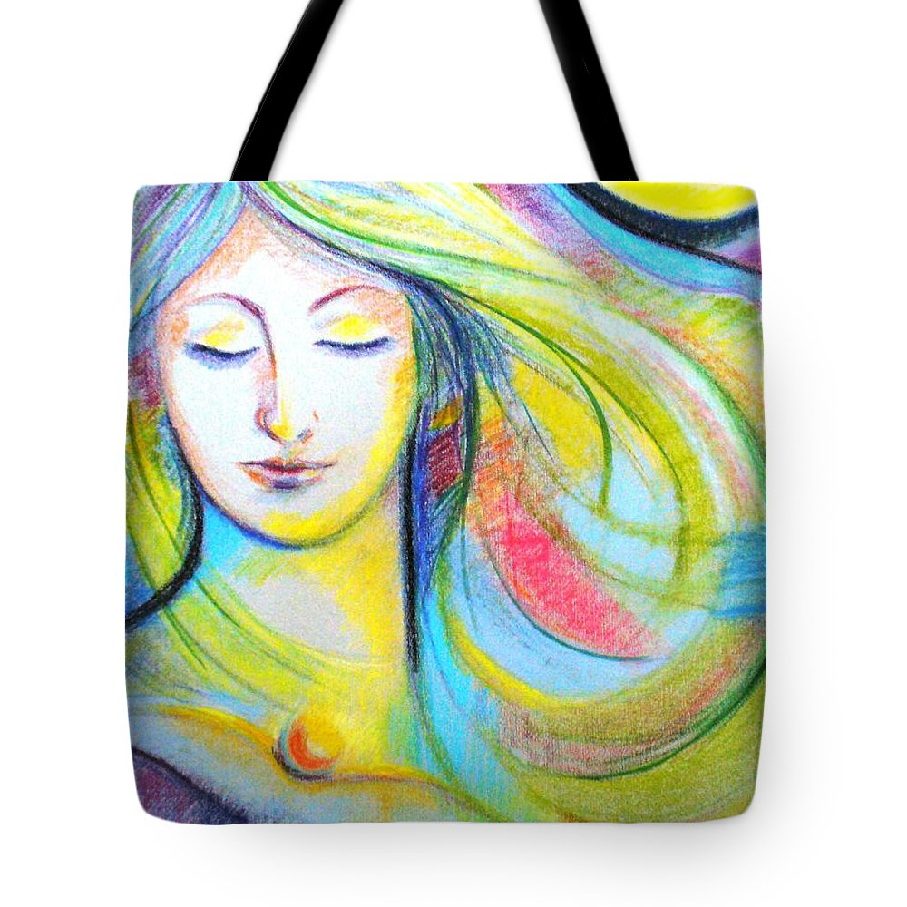 Portrait Tote Bag featuring the drawing Face by Fernanda Cruz