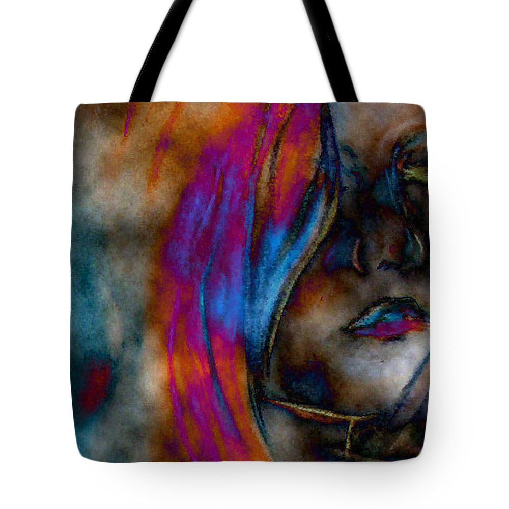 Faces People Anatomy Portrait Tote Bag featuring the digital art Face Of A Girl by Lisa Stanley