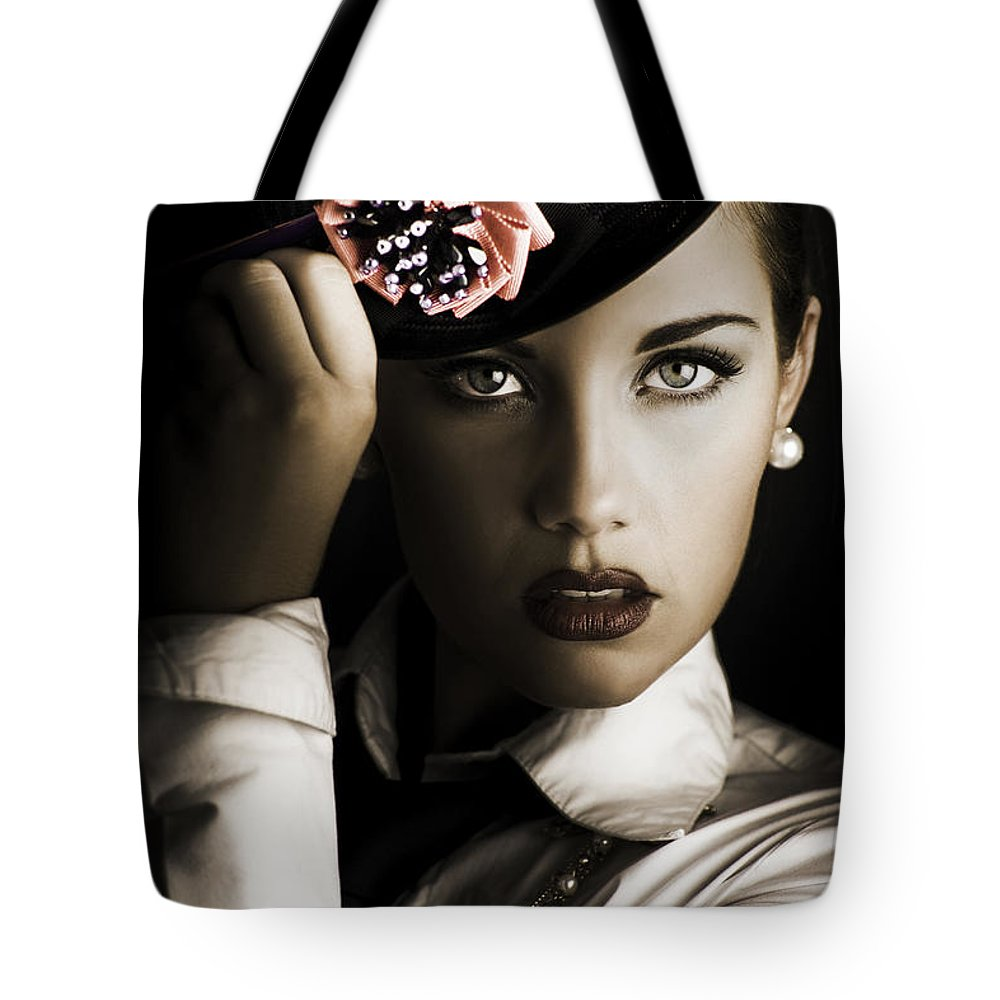 Accessories Tote Bag featuring the photograph Face Of Dark Fashion by Jorgo Photography - Wall Art Gallery