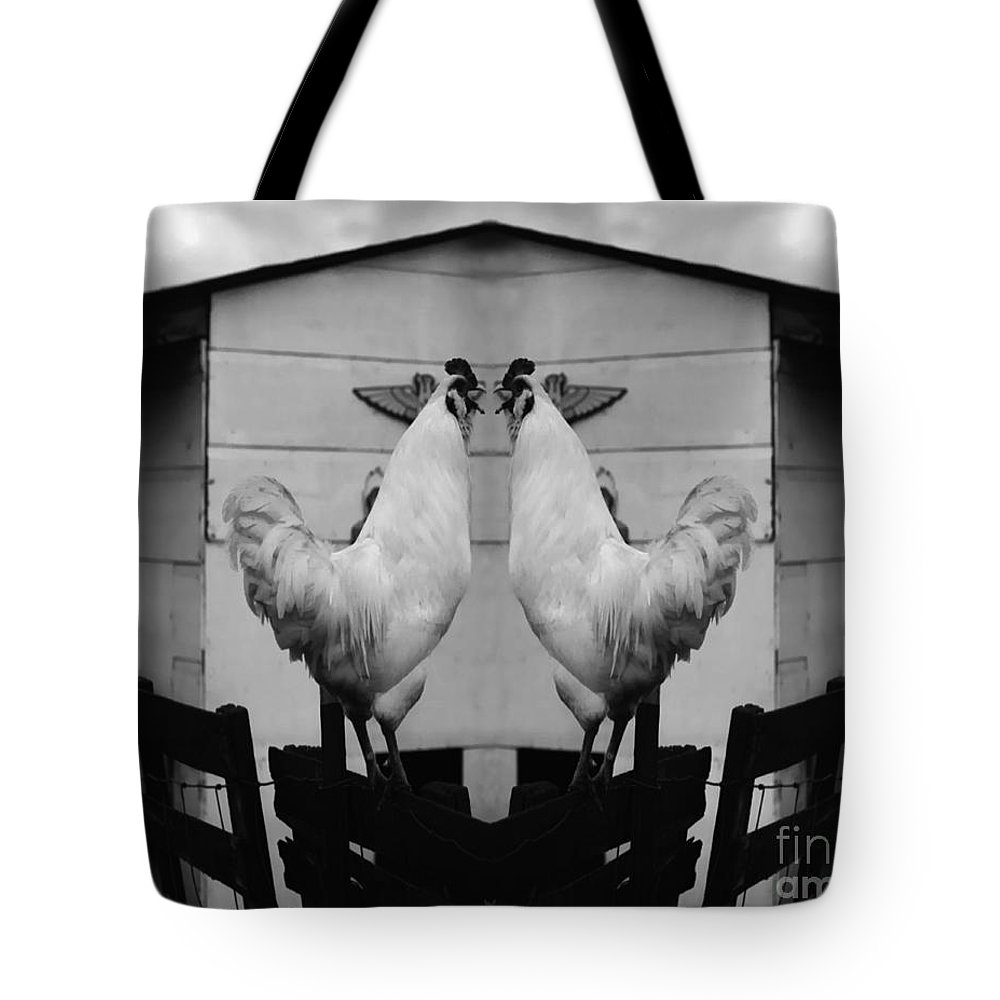 Rooster Tote Bag featuring the photograph Face Off by Peter Piatt