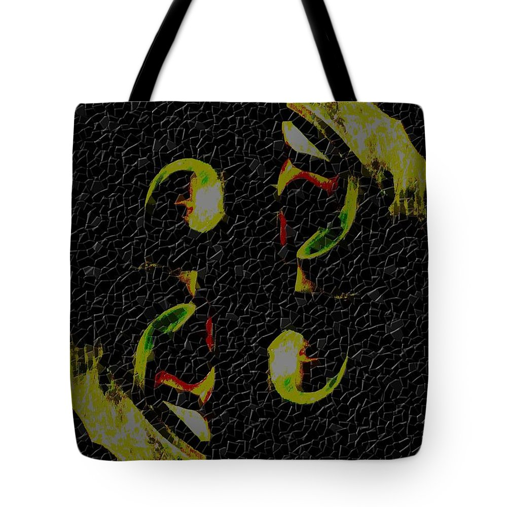 Abstract Tote Bag featuring the digital art Face To Face by Tim Allen