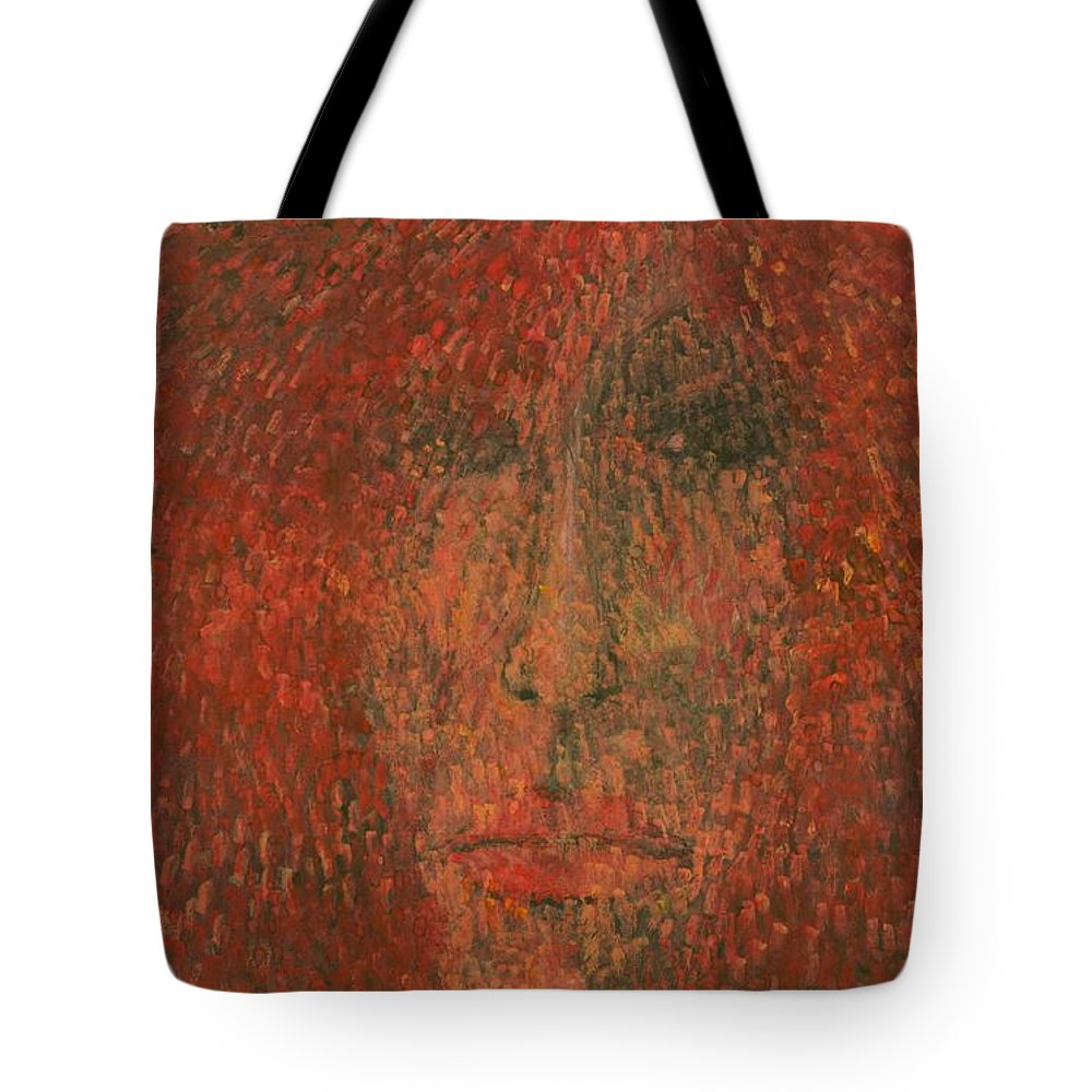 Colour Tote Bag featuring the painting Face by Wojtek Kowalski
