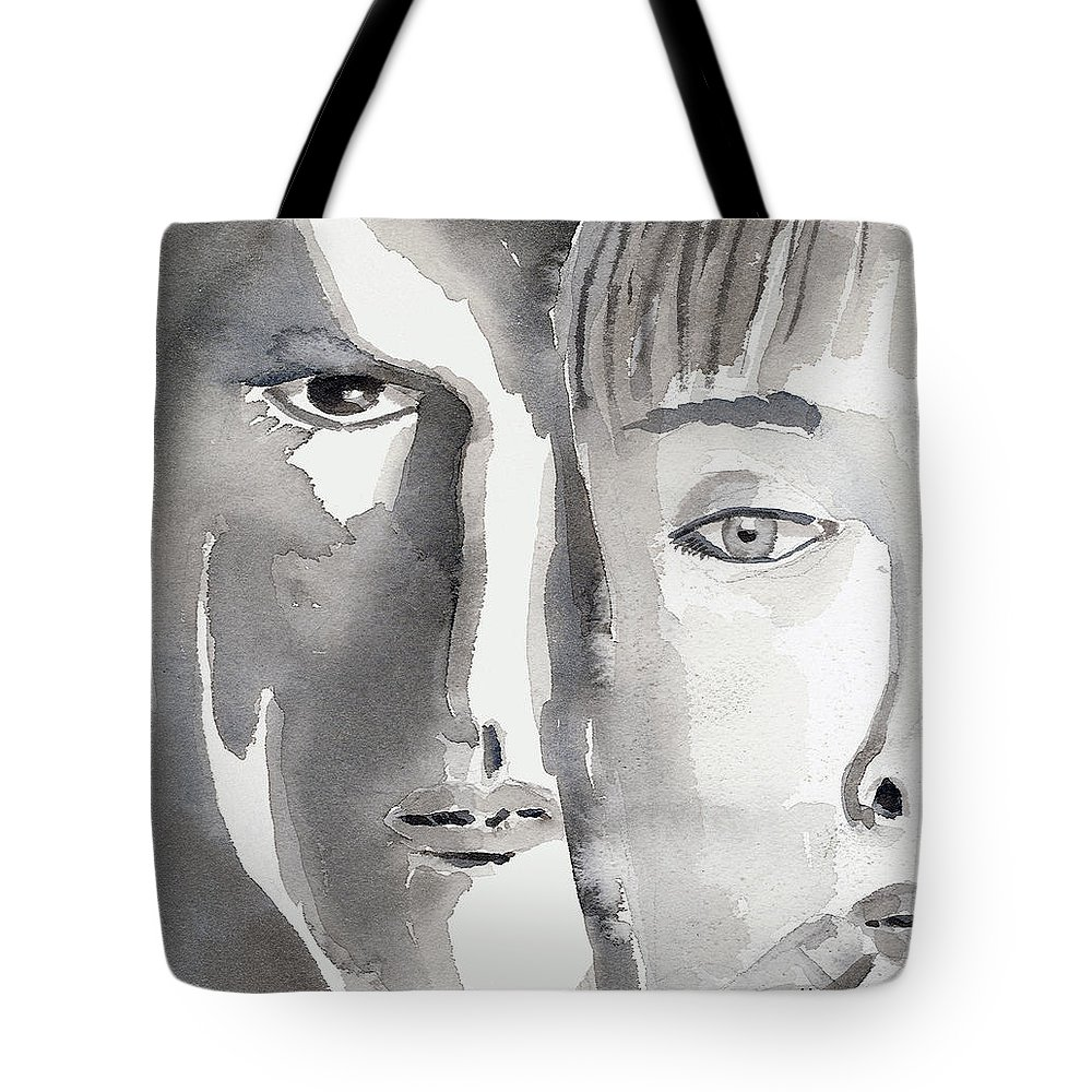 Faces Tote Bag featuring the painting Faces by Arline Wagner