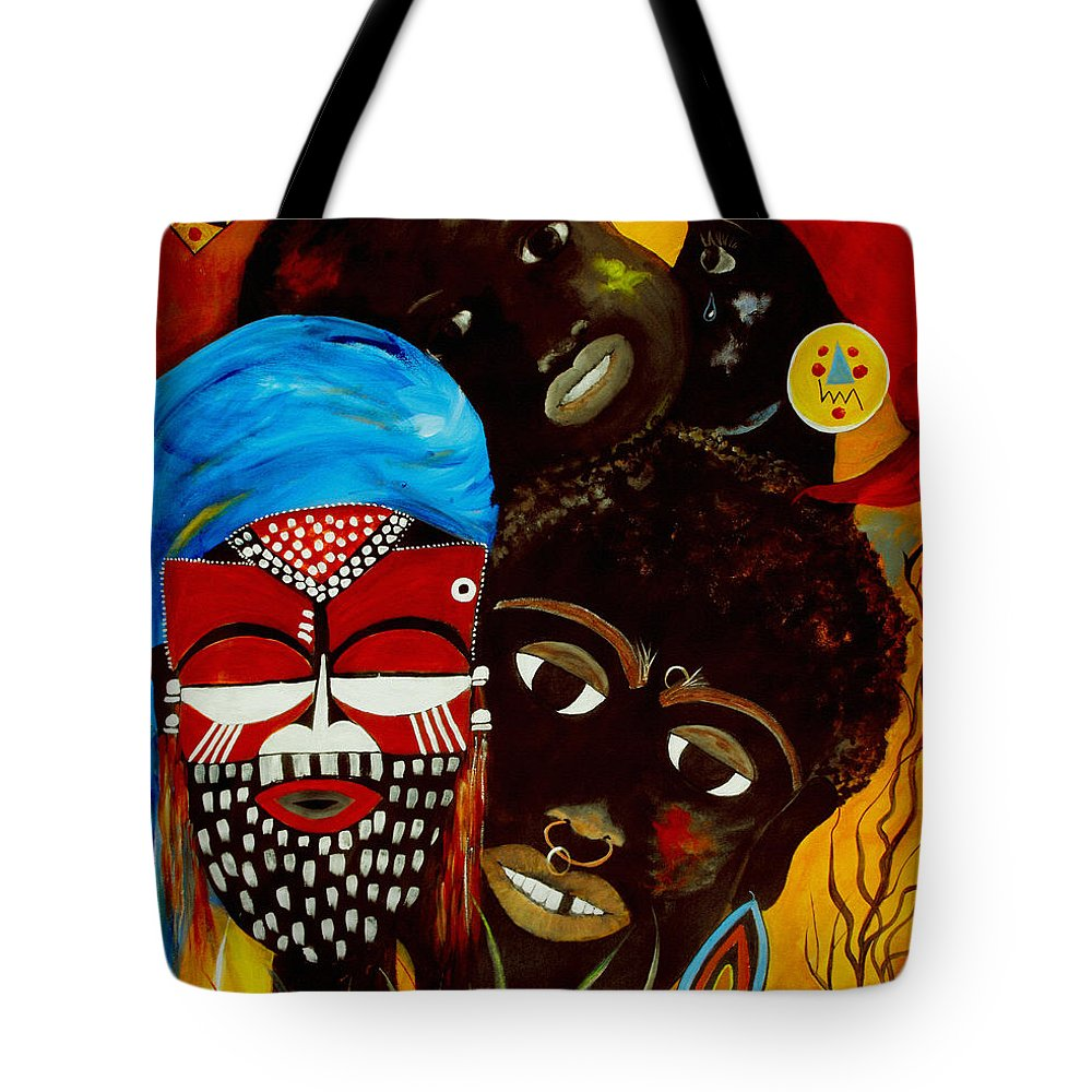Abstract Tote Bag featuring the painting Faces Of Africa by Ruth Palmer