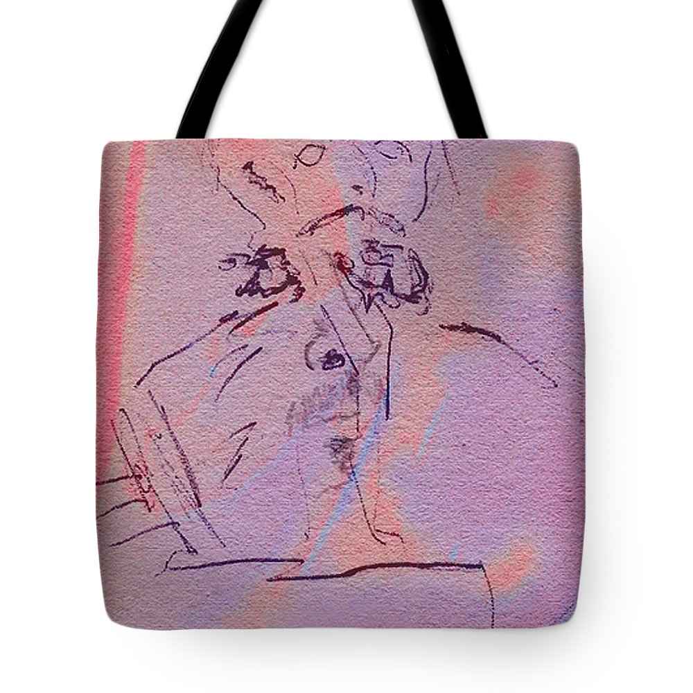 Abstract Tote Bag featuring the mixed media Faces Of Trivia by Steve Karol