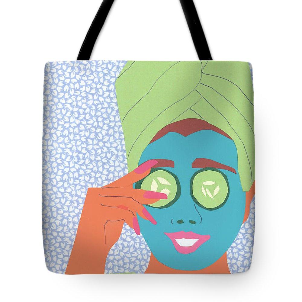Face Tote Bag featuring the mixed media Facial Masque by Debra Bretton Robinson