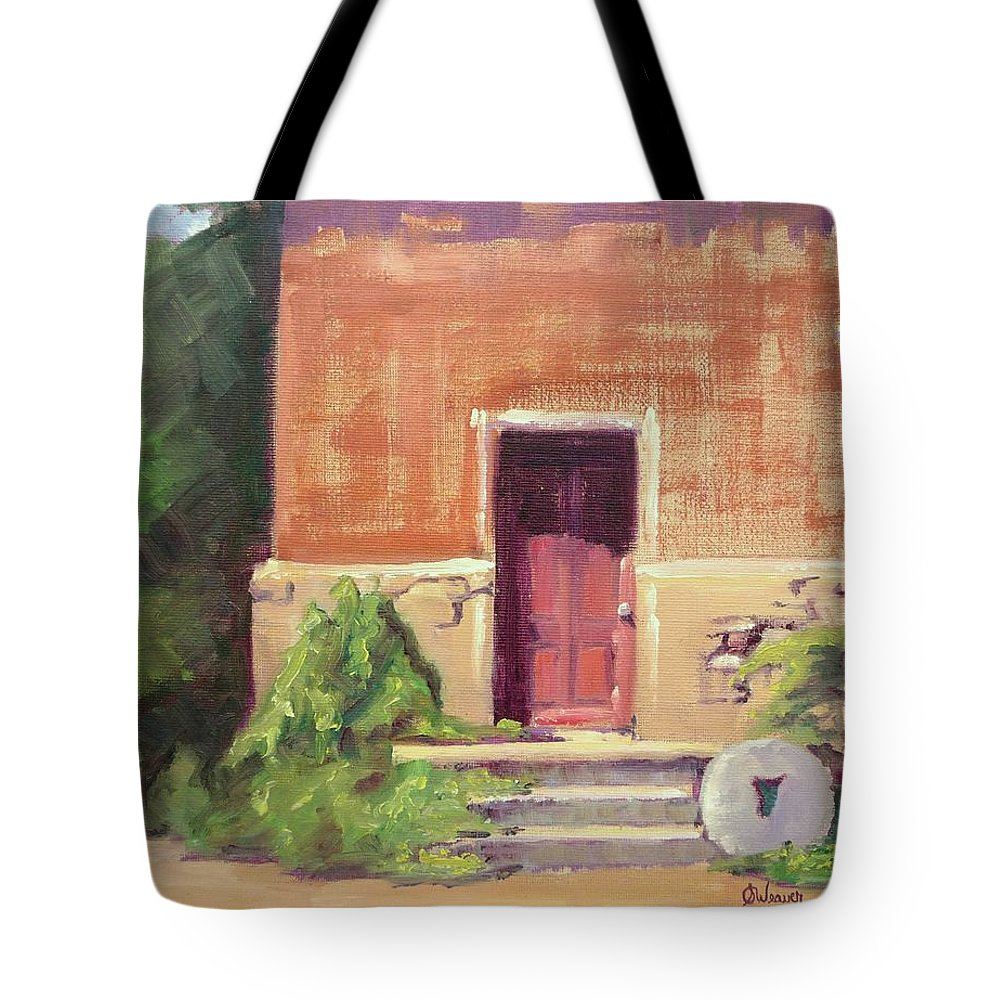 Urban Tote Bag featuring the painting Faded Door by Sharon Weaver