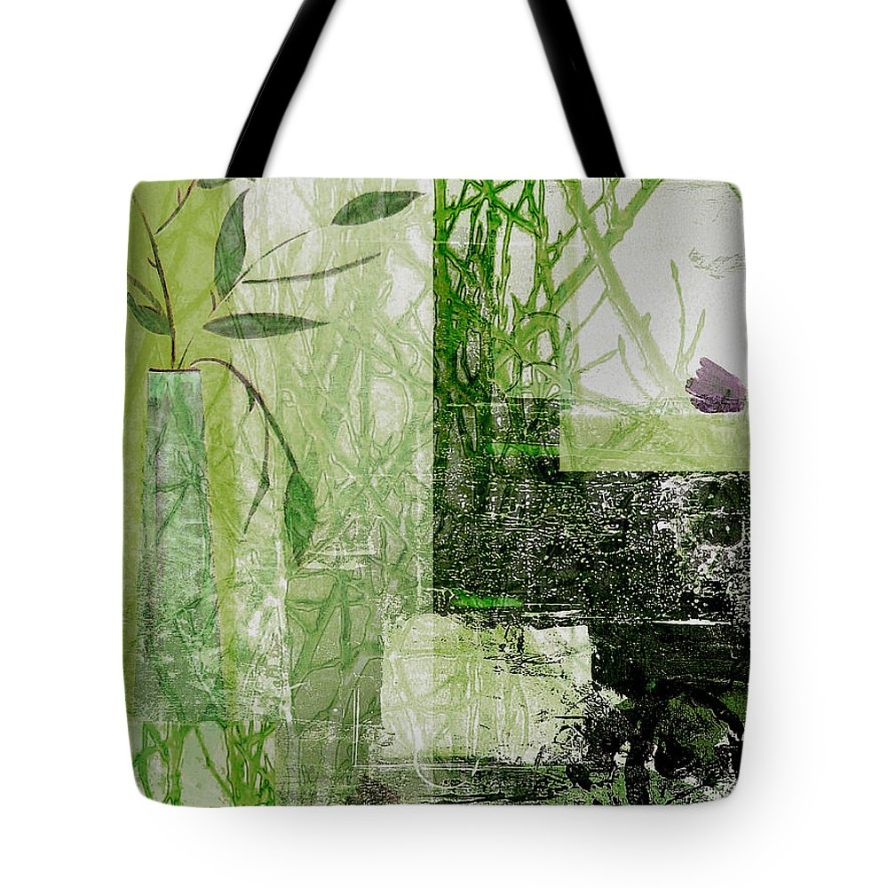 Abstract Tote Bag featuring the mixed media Faded Floral by Ruth Palmer