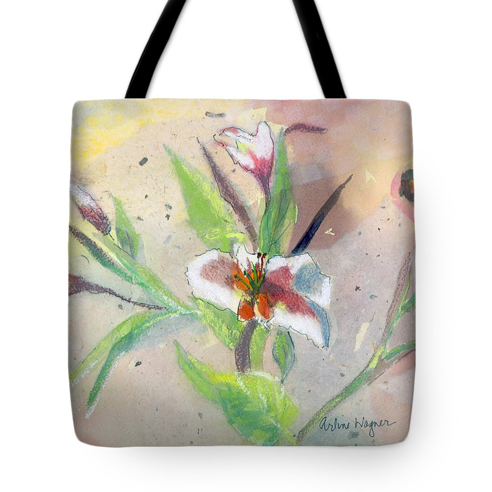 Flower Tote Bag featuring the painting Faded Lilies by Arline Wagner