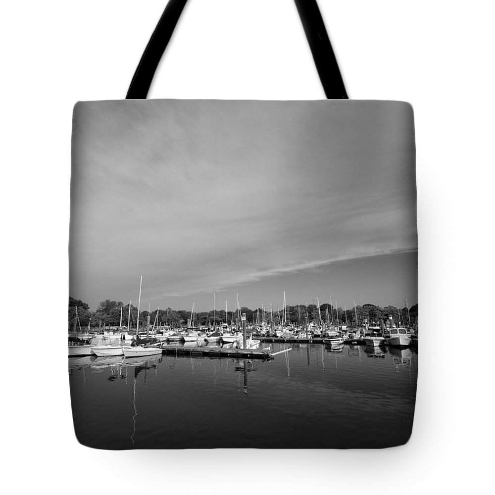 Boats Tote Bag featuring the photograph Fairfield Marina by Stephanie McDowell